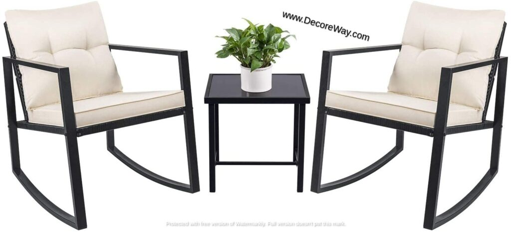 3 Piece Rocking Bistro Set Outdoor Furniture