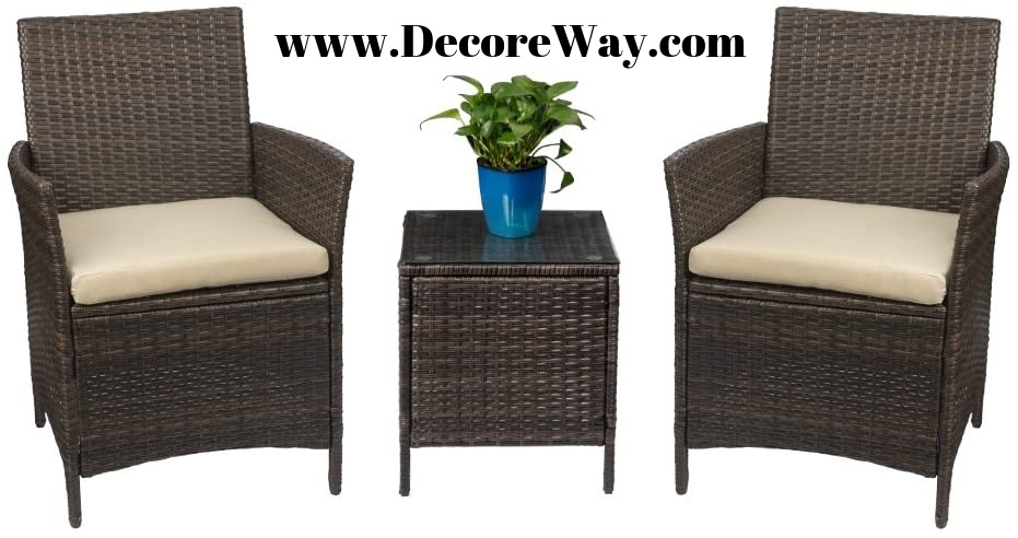 3 Pieces Wicker Chairs with Table Outdoor Garden Furniture Sets