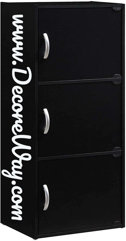 3 Shelf Black Office Storage Cabinet