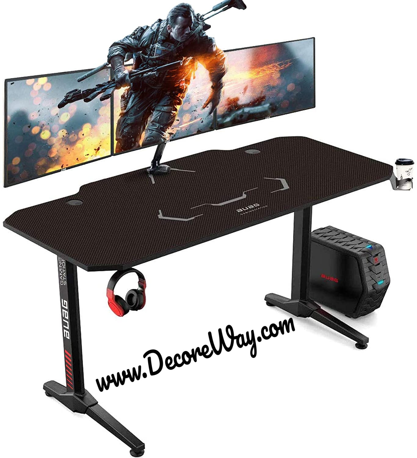 55 inch Racing Style Gaming Desk Computer Desk Workstation T Shaped