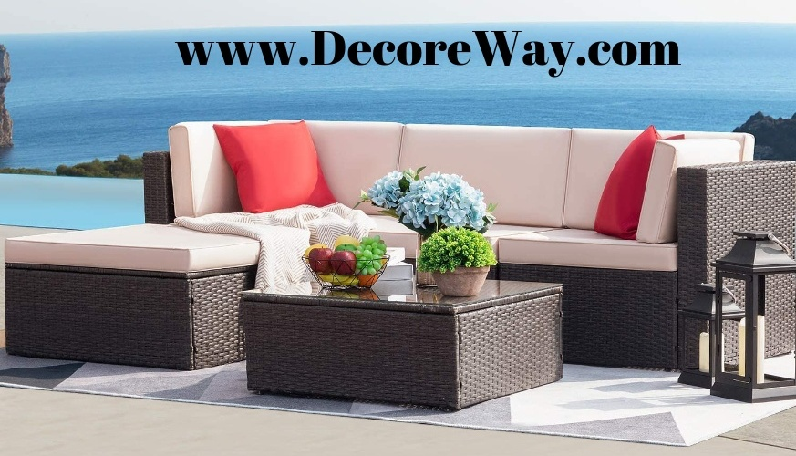 All Weather Outdoor Sectional Sofa Set with Cushion and Glass Table 1