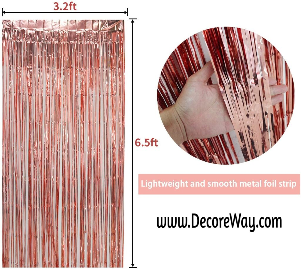 Backdrop Rose Gold Party Decoration 3.2 ft x 6.5 ft Metallic