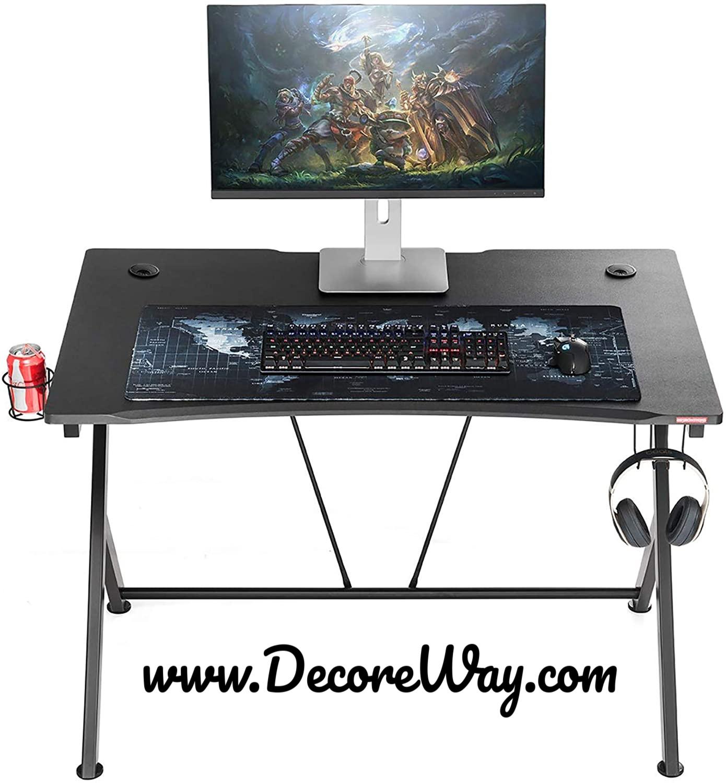 Black Gamer Workstation with Cup Holder