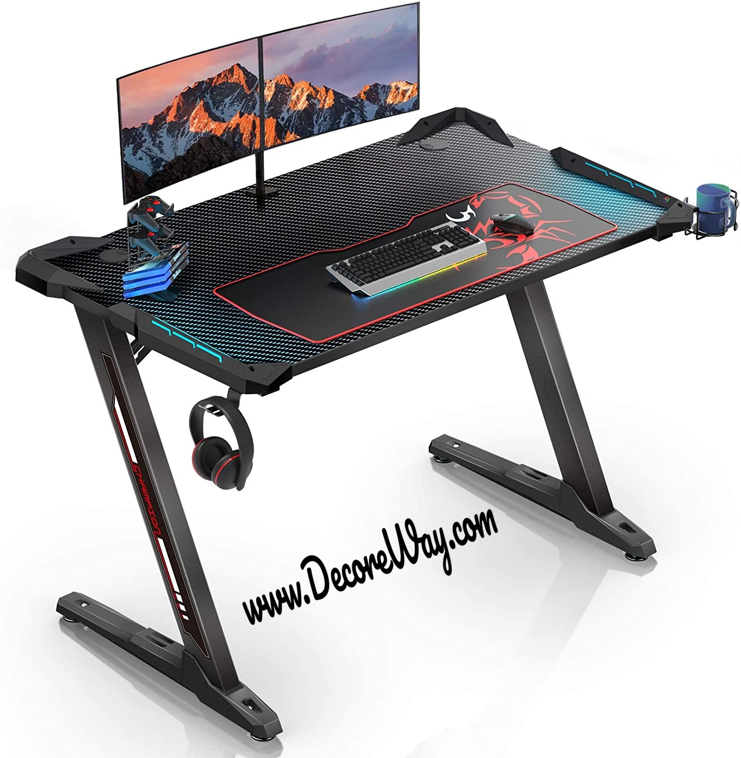Gaming Desk 4.5 Inches Z Shaped Gamer Tables Pro with LED Lights