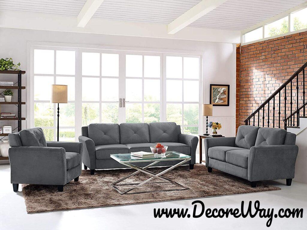 Grayson Micro fabric Sofa Dark Gray