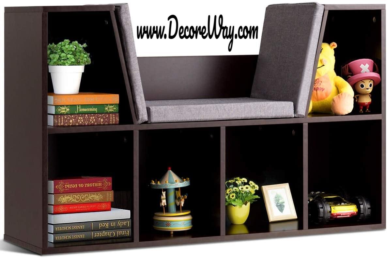 Kids Bookcase Cushioned Reading Nook Shelf for Children