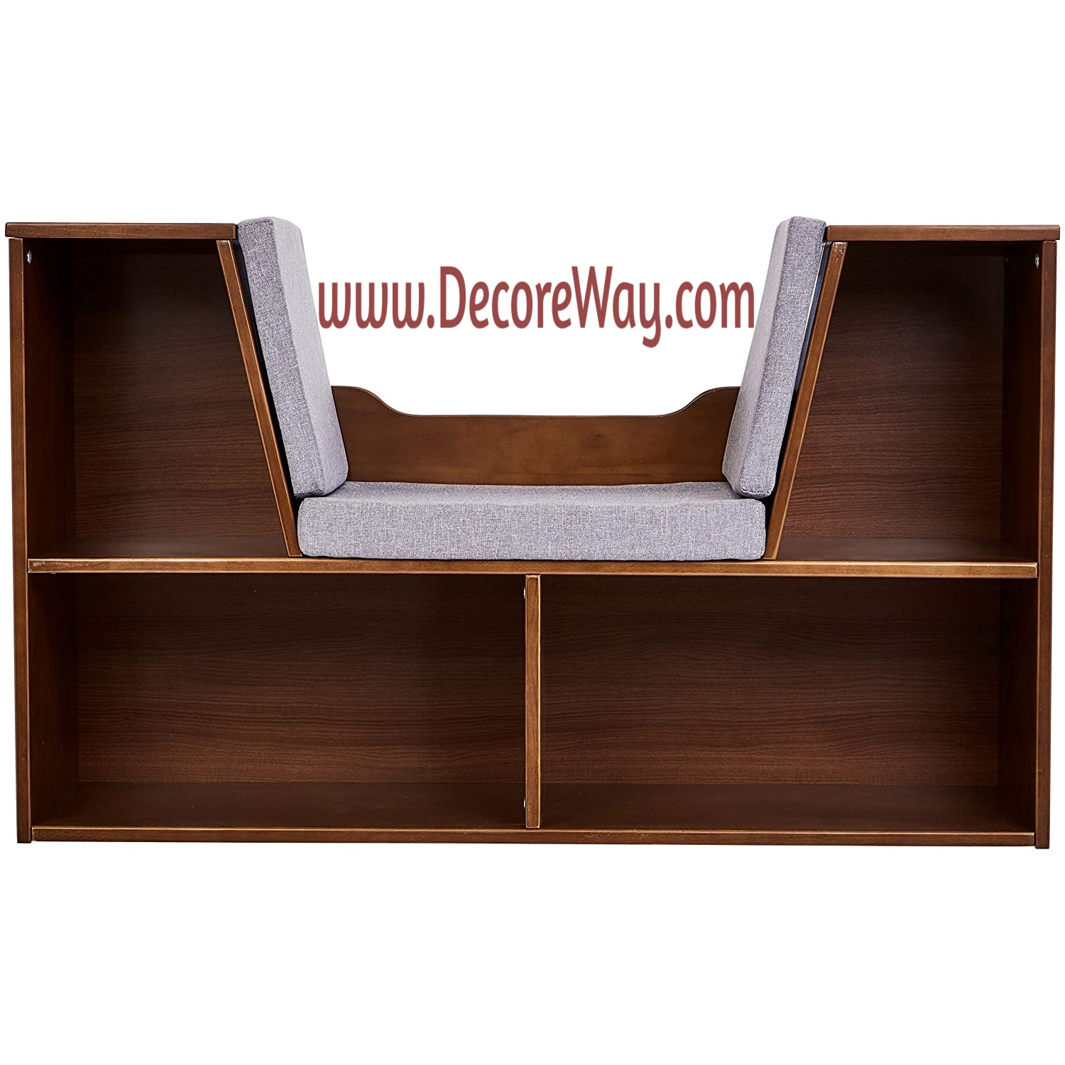 Kids Bookcase with Reading Nook and Storage Shelves Natural
