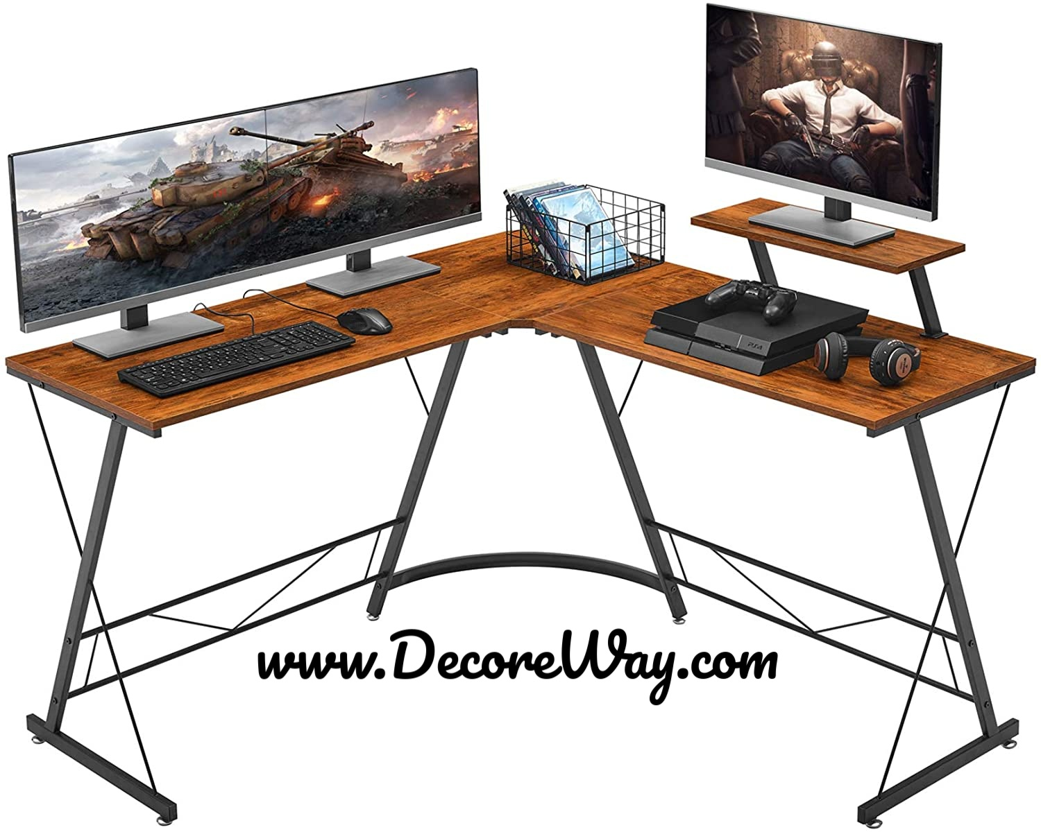 L Shaped Home Gaming Desk Space Saving