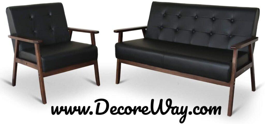 Mid Century Retro Modern Living Room Sofa Set with Loveseat
