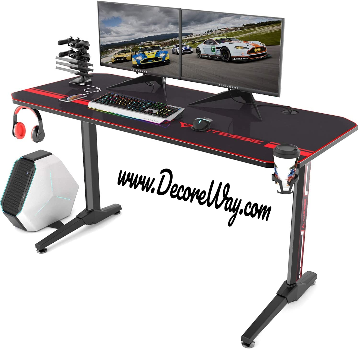 Racing Style Computer Gaming Desk with Free Mouse pad And USB