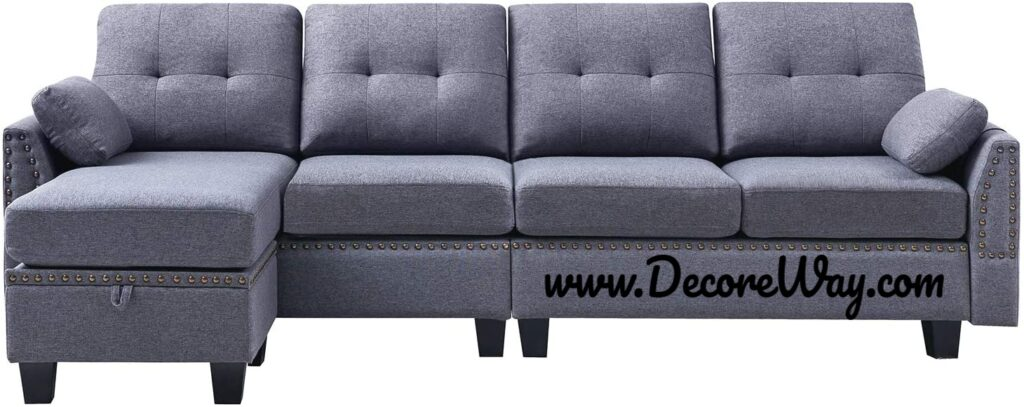 Sofa Couch for Living Room 4 seat Sofas Sectional for Apartment Dark Grey