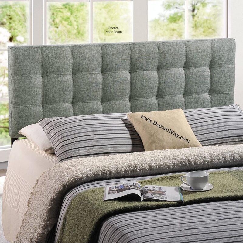 Upholstered headboard queen grey