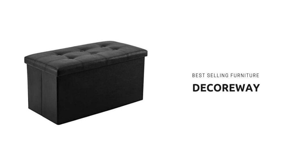 Black Leather Storage Ottoman