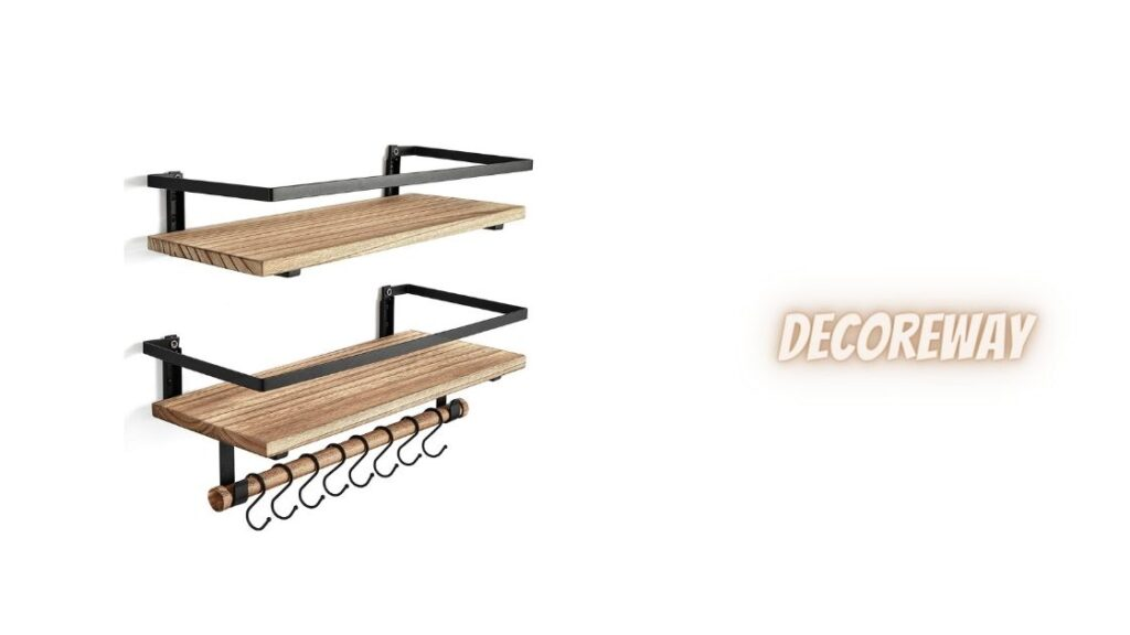 Wooden Bathroom Shelves With Towel Bar
