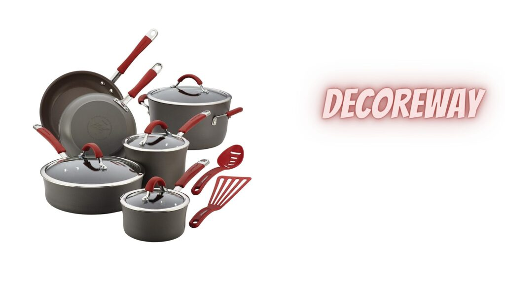 12 Pieces Grey With Red Handles Cookware Set