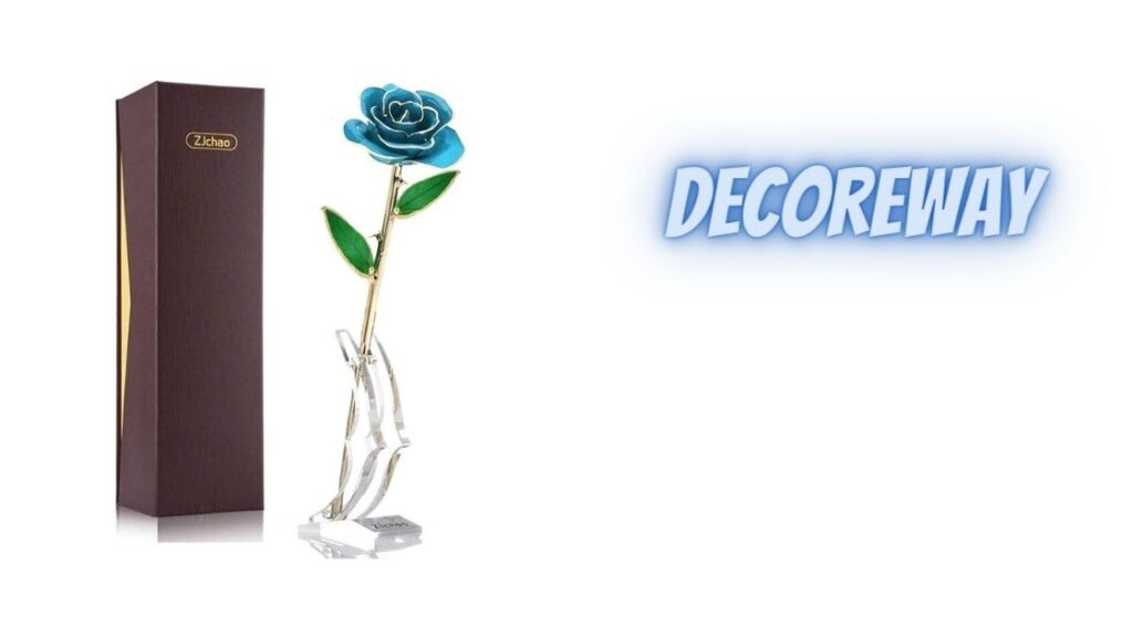 Blue Dipped Rose With Stand