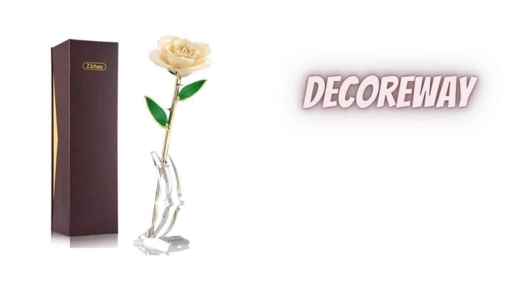 Golden Plated Flower with Rose Stand